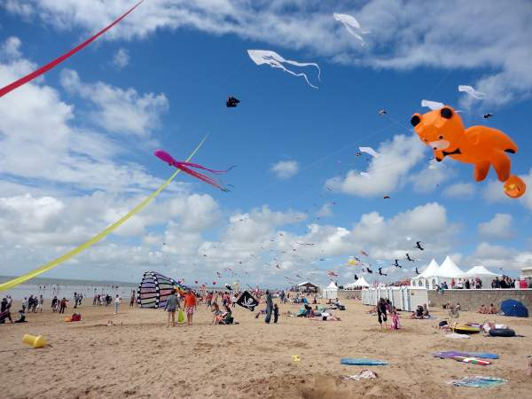 Kites on the beach of Notre-Dame-de-Monts in Vendée